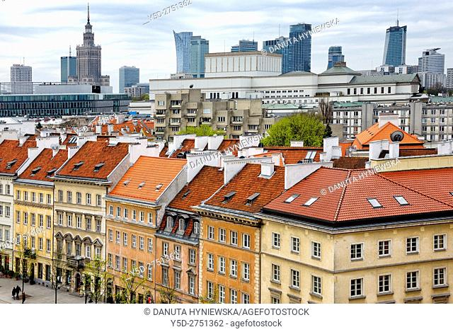 Krakowskie Przedmiescie street - so called Royal Tract, in background Palace of Culture and Science and skyscrapers, Warsaw, Poland, Europe