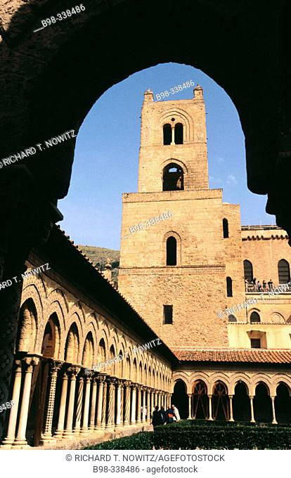 Italy. Sicily. Monreale. Cloister and  Benedictine garden in the famous cathedral of Monreale