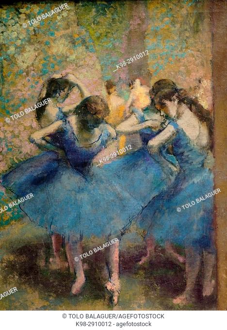 Edgar Degas,Danseuses bleues, huile sur toile, 1890, Orsay Museum, Paris, France,Western Europe