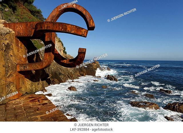 Sculptures of Eduardo Chillida on the waterfront, Peine del viento, Paseo del Peine del Viento, San Sebastian, Donostia, Camino de la Costa, Camino del Norte