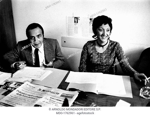 Maurizio Costanzo and Dina Luce at the newsroom of Buon Pomeriggio. Italian journalist and TV host Maurizio Costanzo and Italian journalist and TV host Dina...
