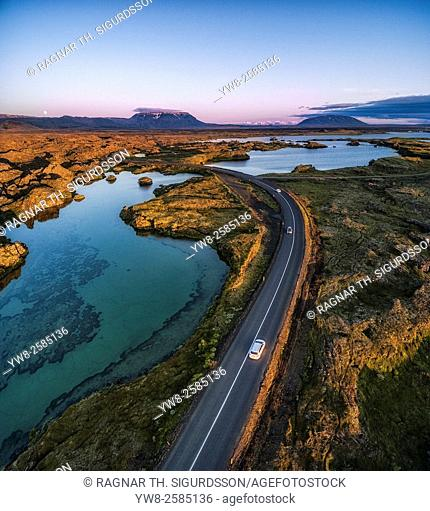 Aerial view of the unique lava formations at Kalfastrond, Lake Myvatn, Iceland. Image shot using a drone. Lava and moss formations at Kalfastrond, Lake Myvatn