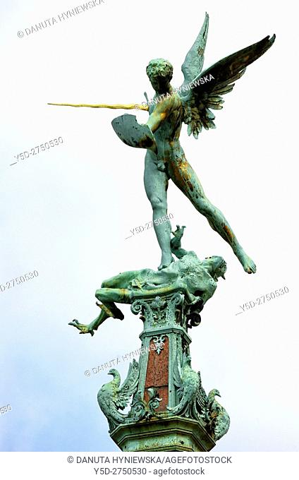Statue of St. Michael slaying the dragon - detail of eclectic fountain in honor of Jules Anspach erected in 1897, Fontaine Anspach
