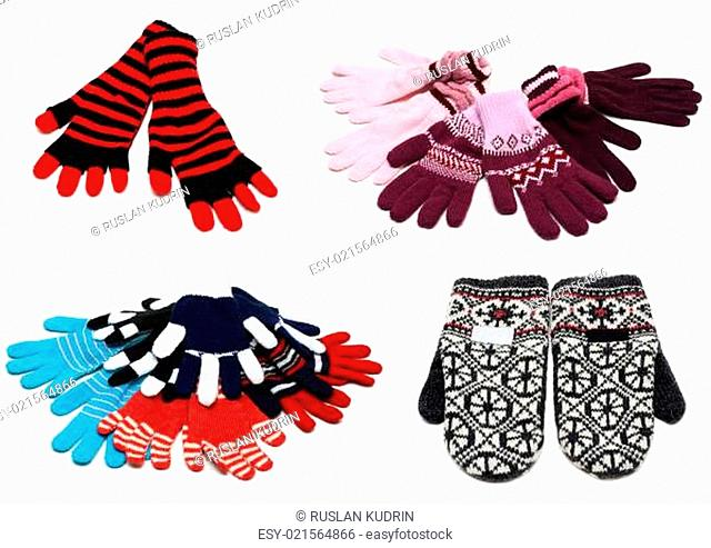 Collage from knitted mittens and gloves