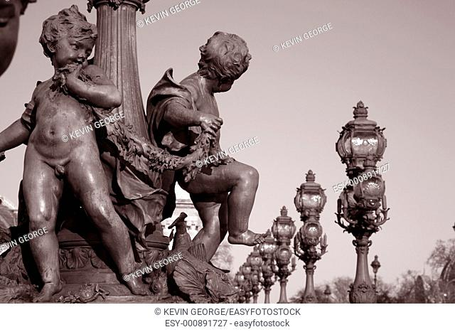 Figures on the Alexandre III Bridge, Paris, France