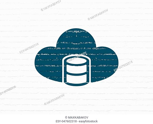 Cloud computing concept: Painted blue Database With Cloud icon on White Brick wall background