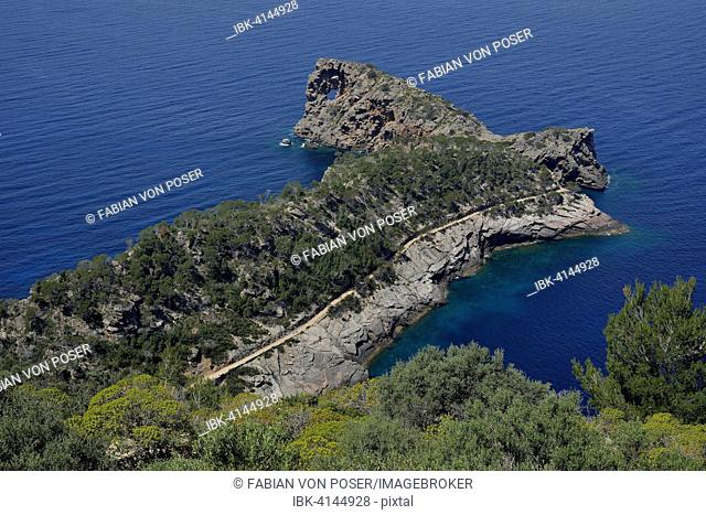 Sa Foradada peninsula with rock hole, between Deià and Valldemossa, Majorca, Balearic Islands, Spain