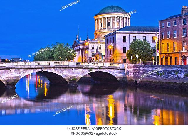 Four Courts, Ireland's main courts building Na Ceithre Cúirteanna, located on Inns Quay, O'Donovan Rossa Bridge, River Liffe, Dublin city, province of Leinster