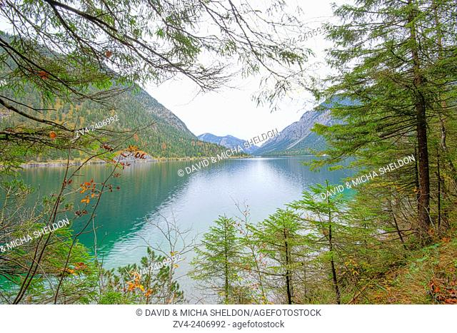 Landscape of a clear lake (Plansee) in autumn in Tirol, Austria