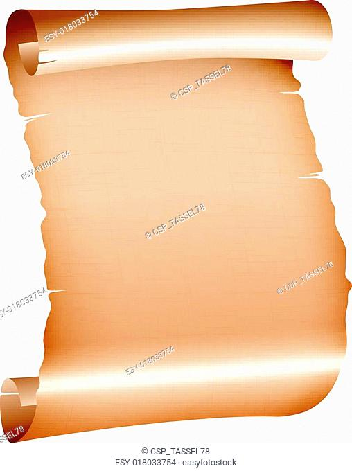 old blank scroll paper on white background