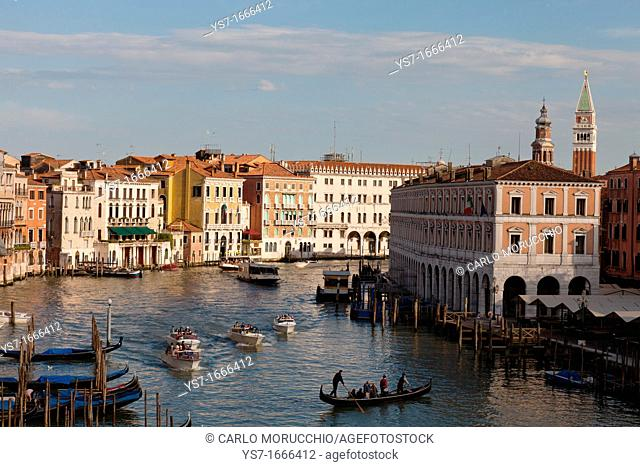 Grand canal view from Ca' d'Oro golden house palace, correctly Palazzo Santa Sofia, is a palace on the Grand Canal in Venice, Italy, Europe