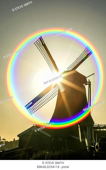 Lens flare around windmill