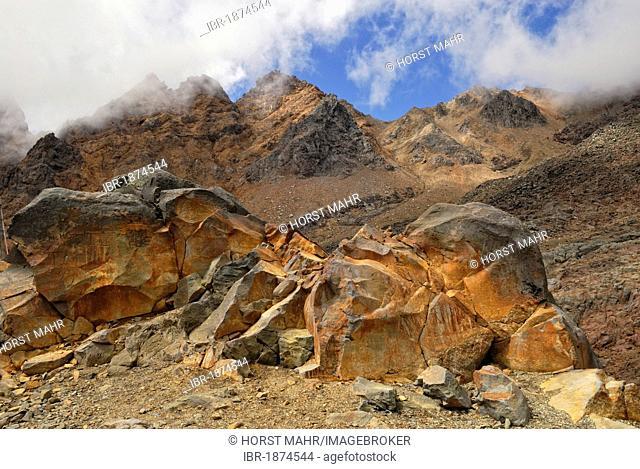 Iron-containing volcanic rocks, Whakapapa Ski Fields on the north side of Mount Ruapehu, Tongariro National Park, North Island, New Zealand