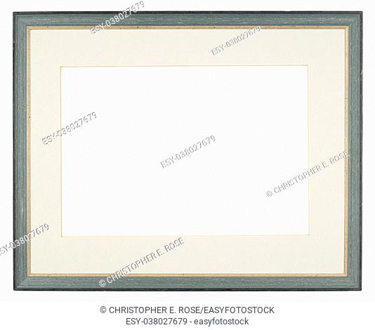 Empty picture frame, blue painted finish, with mount