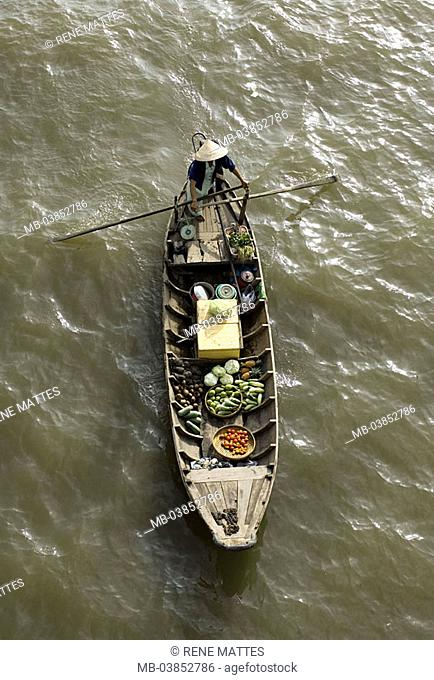 Vietnam, Mekongdelta, Cai position, river-market, boat, dealers, from above Asia, southeast-Asia river Mekong city swimming market trade, retails, economy, man
