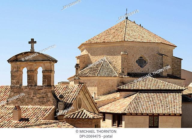 Iglesia De San Pedro With The 17Th Century Convento De Las Carmelitas In The Foreground, Cuenca Castile La Mancha Spain