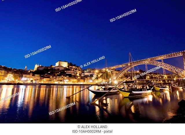 Porto and river Douro at dusk