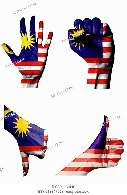 hands with multiple gestures (open palm, closed fist, thumbs up and down) with Malaysia flag painted isolated on white