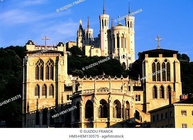 France, Rhone, Lyon, basilica Notre Dame de Fourviere and the cathedral Saint Jean