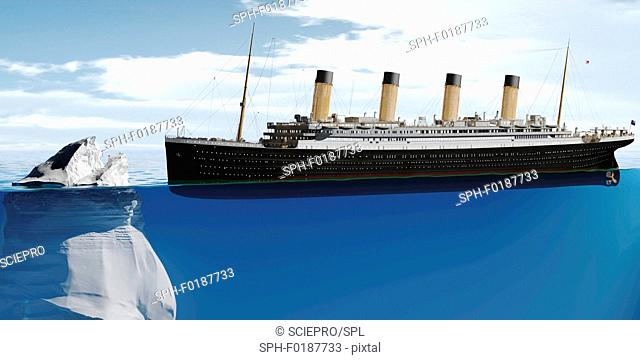 Ocean liner approaching iceberg, conceptual illustration