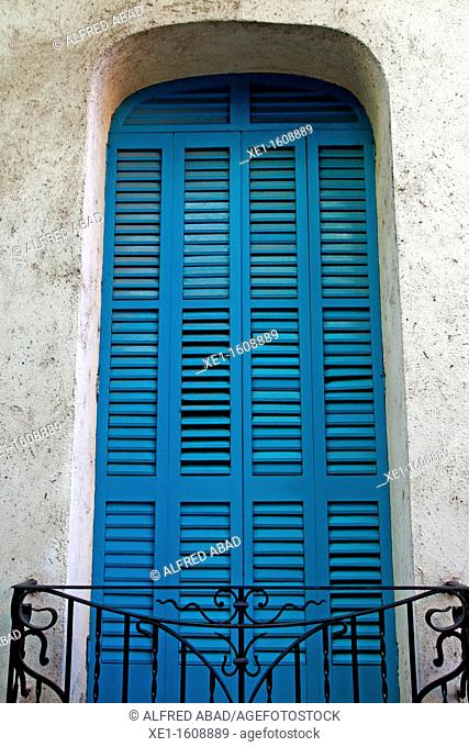 blue shutters, Caldes de Montbui, Catalonia, Spain
