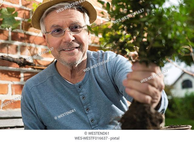 Germany, Kratzeburg, Senior man doing gardening