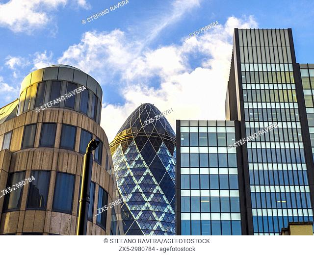 The Gherkin building and the Towergate building (left) in the city of London - England