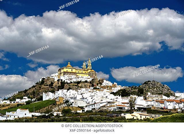 The White Town, Pueblo Blanco, Olvera with the parish church of Our Lady of the Incarnation, Parroquia de Nuestra Señora de la Encarnación, Olvera