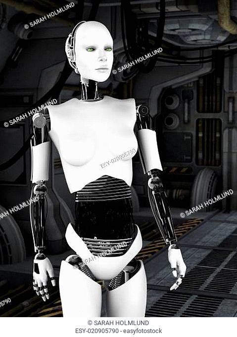 Robot woman in sci fi corridor