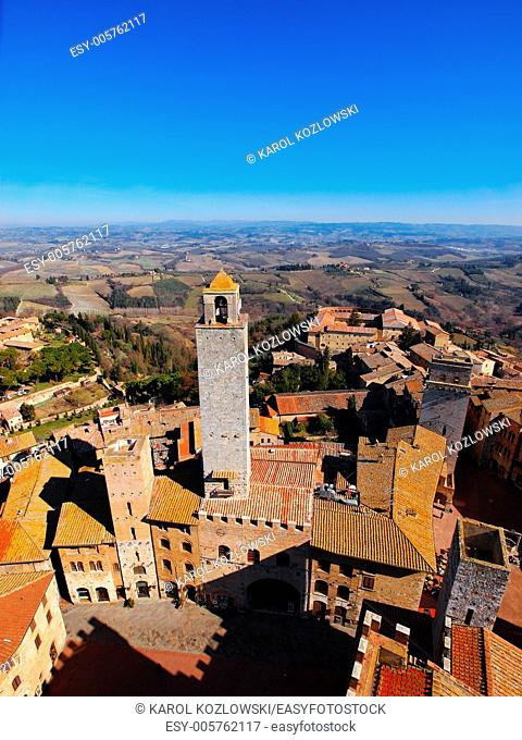 San Gimignano, medival city with famous towers in Tuscany, Italy