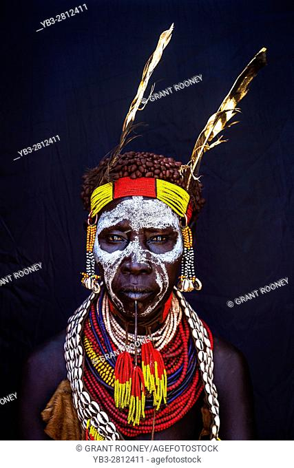 A Portrait Of An Elderly Woman From The Karo Tribe, Kolcho Village, Omo Valley, Ethiopia