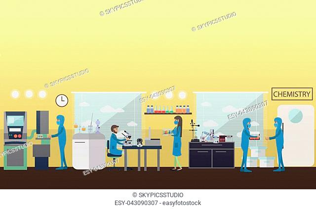 Chemistry concept vector illustration in flat style. Laboratory interior, chemists testing chemical elements using lab equipment and glassware