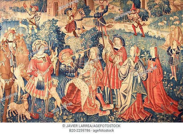 Tenture à l'oiseau. Intermde musical. Pays-Bas du Sud 1520. Musee du Moyen-Age Middle Ages Museum, the former Hotel de Cluny. Musée de Cluny. Paris
