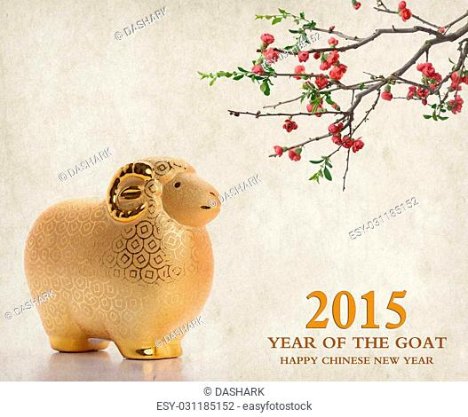 """Ceramic goat souvenir,2015 is year of the goat,calligraphy word for """"""""goat"""""""""""""""""""""""