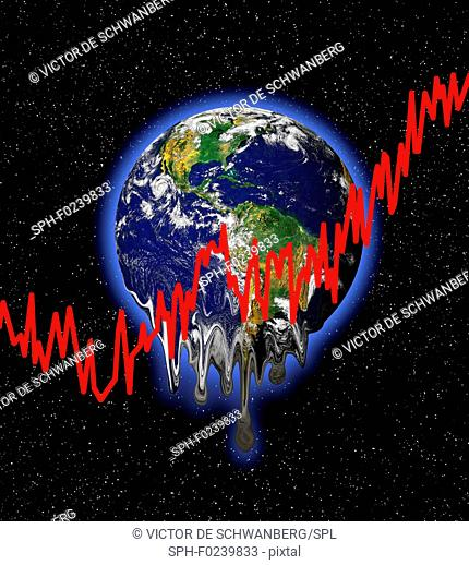 Planet earth with red graph lines, illustration