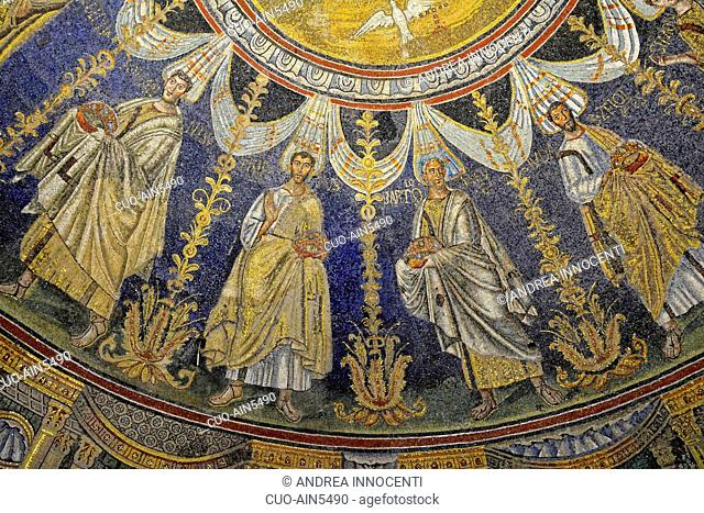 Particular of internal mosaics, the Baptistry of Neon, Battistero Neoniano, Ravenna, Emilia Romagna, Italy, Europe