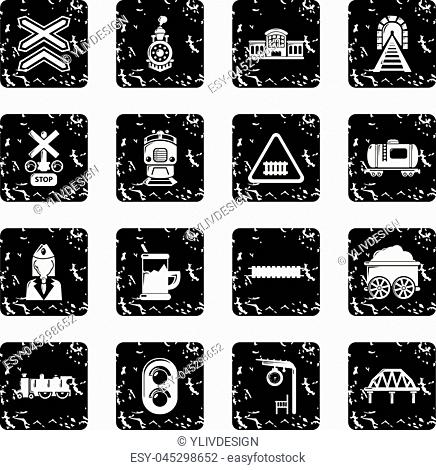 Train railroad icons set vector grunge isolated on white background
