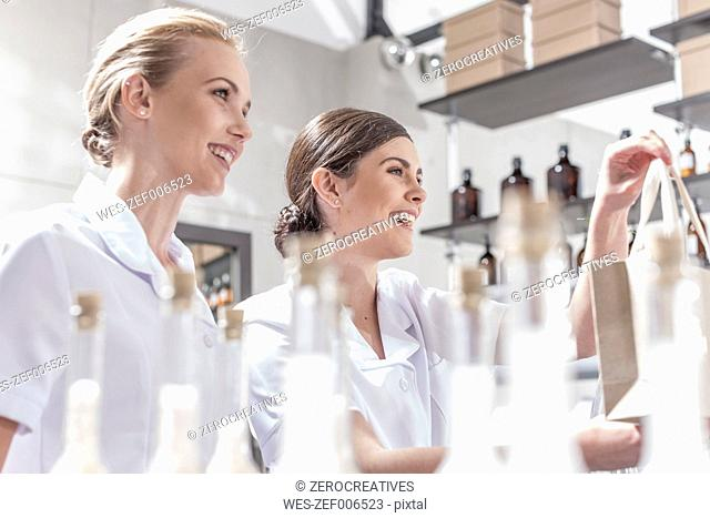 Smiling shop assistants in wellness shop handing over bag