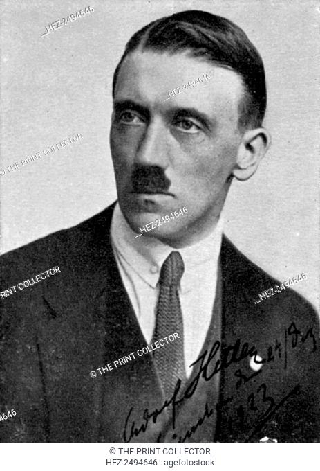 Adolf Hitler, Austrian born dictator of Nazi Germany, 1923. Hitler (1889-1945) became leader of the National Socialist German Workers (Nazi) party in 1921