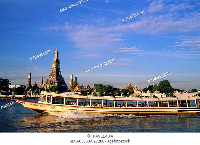Thailand,Bangkok,River Bus in front of Wat Arun