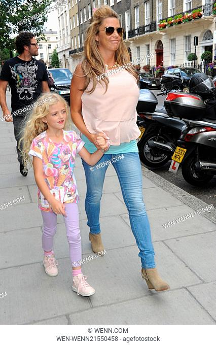 Katie Price and her daughter Princess Tiiaami seen leaving FUBAR Radio and heading to a clinic in Harley Street Featuring: Katie Price Where: London