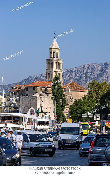 Historical center of Split with view of Bell Tower of Cathedral of Saint Domnius