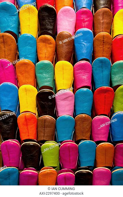 Colorful selection of Babouche slippers for sale in souk; Marrakesh, Morocco