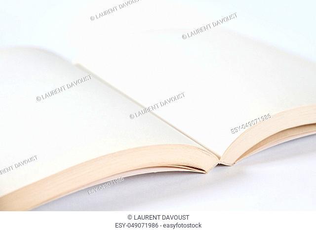 Open blank book mockup on grey background