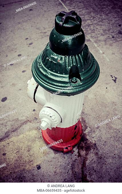 Water Hydrant in italian flag colors, Little Italy, Manhatten, New York, USA