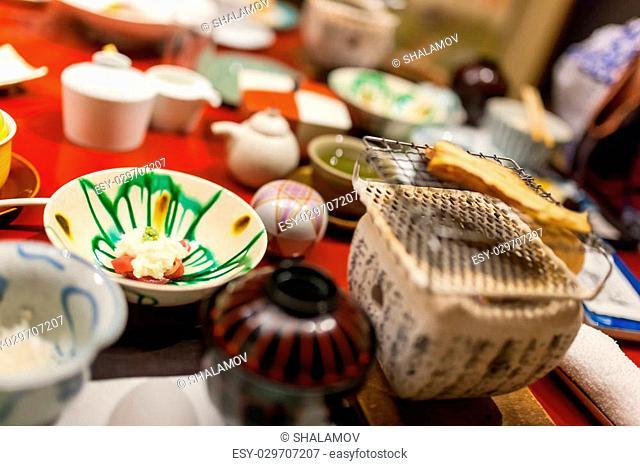 Traditional Japanese breakfast of Takayama region food