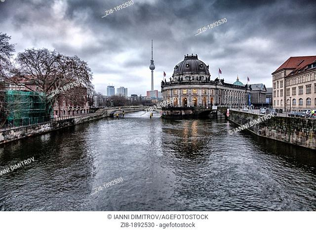 Bode Museum on The river Spree,Berlin,Germany   In order to achieve the appearance of a building rising from water the architect arranged the three-winged...