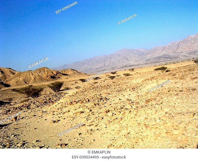 Arava Desert in front of the mountains near Eilat in Israel