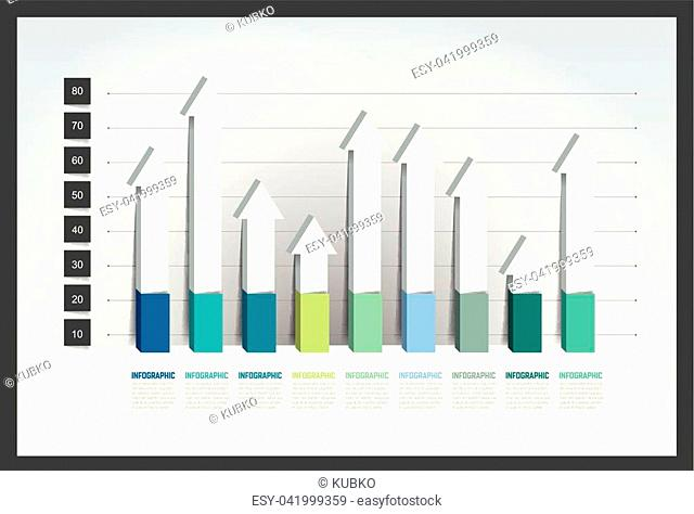 Chart, graph, 3D style. Infographics element