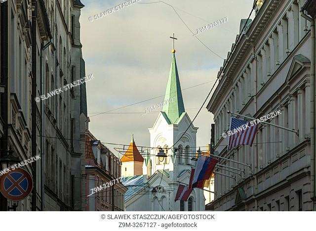 Our Lady of Sorrows catholic church in Riga old town, Latvia